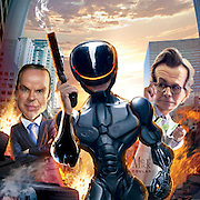 Caricature: Robo Cop stars Joel Kinnaman, Michael Keaton, and Gary Oldman. 3D modeling and Photoshop for Penthouse Movie Review