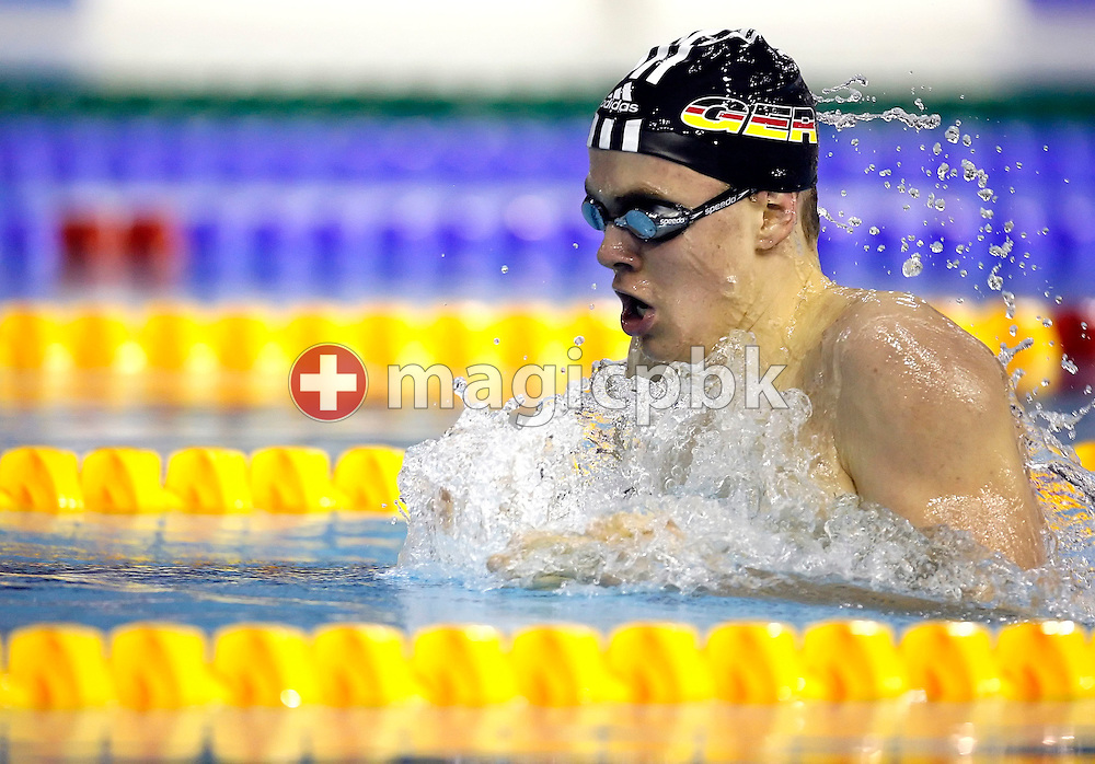 Jan David Schepers of Germany swims on the breaststroke leg in a men's 400m individual medley (IM) special heat on day two at the European Short-Course Swimming Championships at the Maekelaenrinne Swimming Centre in Helsinki, Finland, Friday December 8, 2006. Jan David Schepers is too young to compete in the official program. (Photo by Patrick B. Kraemer / MAGICPBK)