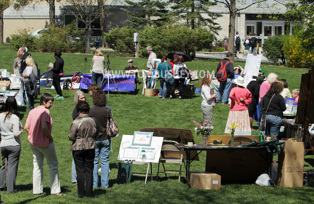 Middletown, New York - People attend an Earth Day celebration on the green at SUNY Orange on April 19, 2012.