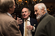 DAVID CAMPBELL; PHILIP BECK, David Campbell Publisher of Everyman's Library and Champagen Bollinger celebrate the completion of the Everyman Wodehouse in 99 volumes and the 2015 Bollinger Everyman Wodehouse prize shortlist. The Archive Room, The Goring Hotel. London. 20 April 2015.