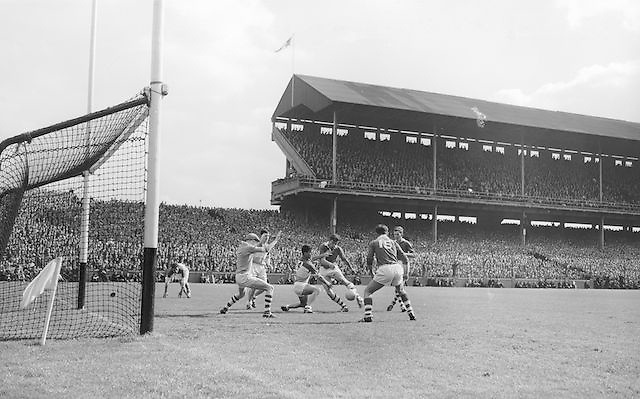 Cork attempt for a goal at the All Ireland Minor Gaelic Football final Cork V. Offaly in Croke Park on 27th September 1964.