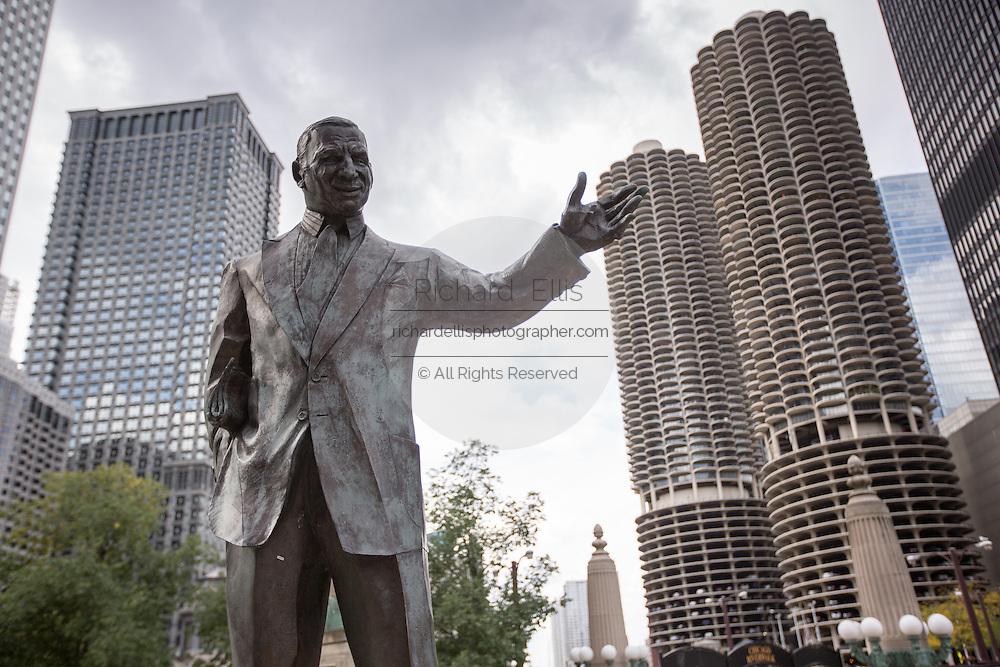 Irv Kupcinet Memorial statue along Riverwalk in Chicago, IL.