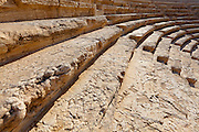 Stone seats and steps in the theatre at Palmyra, Syria. Ancient city in the desert that fell into disuse after the 16th century.