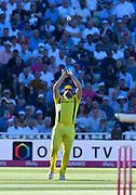 Wicket - Aaron Finch of Australia catches Jason Roy of England of the bowling of Billy Stanlake of Australia during the International T20 match between England and Australia at Edgbaston, Birmingham, United Kingdom on 27 June 2018. Picture by Graham Hunt.