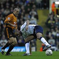 Photo: Jo Caird<br />Spurs v Wolves<br />Barclaycard Premiership 2003<br />06/12/2003.<br /><br />Frederick Kanoute Struggles under pressure