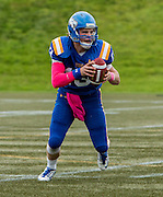 19 October 2014:  Action during a Men's Football game between the University of British Columbia Thunderbirds and the University of Regina Rams on Sidoo Field at Thunderbird Stadium, University of British Columbia, Vancouver, BC, Canada.  ****(Photo by Bob Frid/UBC Athletics  2014 All Rights Reserved****)