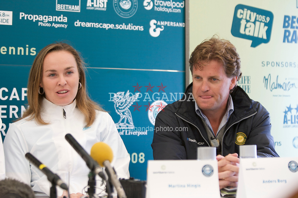 LIVERPOOL, ENGLAND - Friday, June 13, 2008: Martina Hingis (SUI) and Tournament Director Anders Brog at a press conference on Day Four of the Tradition-ICAP Liverpool International Tennis Tournament at Calderstones Park. (Photo by David Rawcliffe/Propaganda)