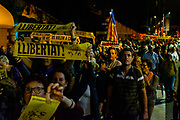 More than 4000 people take to the streets of Sant Cugat del Valles, a town outside Barcelona, to protest the heavy sentences handed down by Spanish Supreme Court to Catalan politicians for alleged sedition, including local resident Raul Romeva, on October 14 2019, following the October 1 2017 independence referendum. Protests took place all across Catalonia today, including blocking of major road and rail routes, and the city's airports, following the ruling.