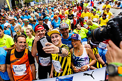 Roman Kejzar, Marko Grilc, Tim Kevin Ravnjak Passion4Life Ambassador and Manca Notar before Wings for Life world marathon in Ljubljana, Slovenia on 7th of May, 2017 .Photo by Grega Valancic / Sportida