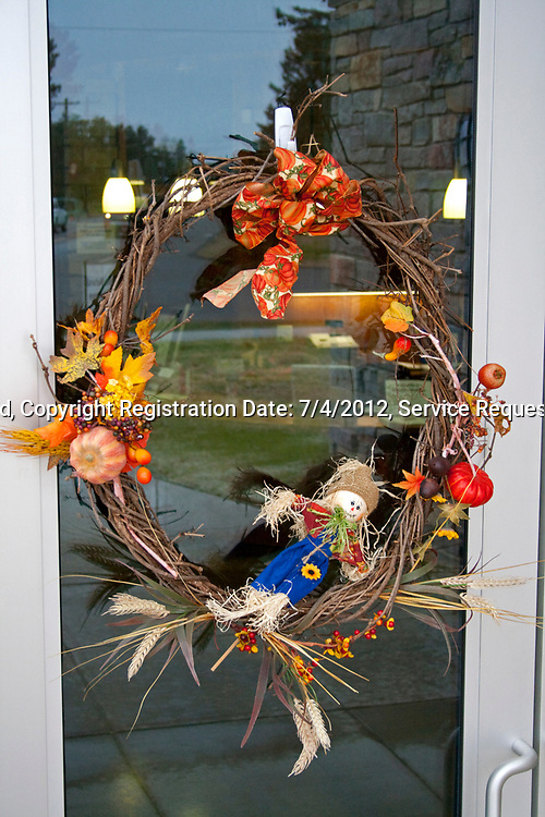 Autumn wreath on front door of Natural History Museum building. Cable Wisconsin WI USA