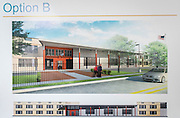 The early renderings for the new Mickey Leland Young Men's College Preparatory Academy are presented to the community at a meeting, March 4, 2015.