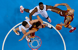 Pau Gasol of Spain and Serge Ibaka of Spain vs Predrag Samardziski of Macedonia and Pero Antic of Macedonia (R) during basketball game between National basketball teams of Spain and F.Y.R. of Macedonia in Semifinals  of FIBA Europe Eurobasket Lithuania 2011, on September 16, 2011, in Arena Zalgirio, Kaunas, Lithuania. Spain defeated Macedonia 92-80.  (Photo by Vid Ponikvar / Sportida)