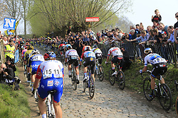 The peloton climb the Koppenberg during the 2019 Ronde Van Vlaanderen 270km from Antwerp to Oudenaarde, Belgium. 7th April 2019.<br /> Picture: Eoin Clarke | Cyclefile<br /> <br /> All photos usage must carry mandatory copyright credit (© Cyclefile | Eoin Clarke)