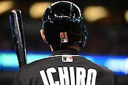 PHOENIX, AZ - JUNE 12:  A detailed view of the back of Ichiro Suzuki #51 of the Miami Marlins helmet in the eighth inning prior to a pinch hit against the Arizona Diamondbacks at Chase Field on June 12, 2016 in Phoenix, Arizona. The Arizona Diamondbacks won 6-0.  (Photo by Jennifer Stewart/Getty Images)