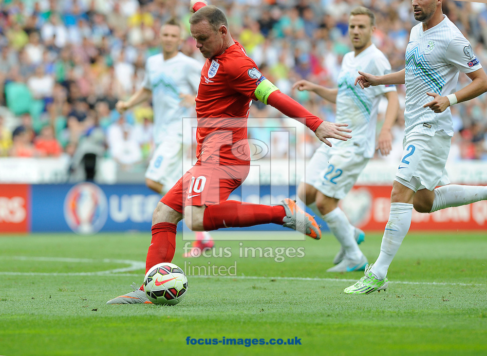 Wayne Rooney of England during the UEFA Euro 2016 Qualifying match at Stozice Stadium, Ljubljana<br /> Picture by Stefano Gnech/Focus Images Ltd +39 333 1641678<br /> 14/06/2015