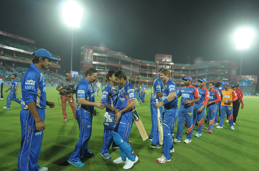 Rajasthan Royals players and Delhi Daredevils players shake hands after match 23 of the Pepsi Indian Premier League Season 2014 between the Delhi Daredevils and the Rajasthan Royals held at the Feroze Shah Kotla cricket stadium, Delhi, India on the 3rd May  2014<br /> <br /> Photo by Arjun Panwar / IPL / SPORTZPICS<br /> <br /> <br /> <br /> Image use subject to terms and conditions which can be found here:  http://sportzpics.photoshelter.com/gallery/Pepsi-IPL-Image-terms-and-conditions/G00004VW1IVJ.gB0/C0000TScjhBM6ikg