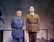 The Patriotic Traitor <br /> at Park Theatre, London, Great Britain <br /> press photocall <br /> 18th February 2016 <br /> <br /> Tom Conti as Philippe Petain<br /> <br /> Laurence Fox as Charles de Gaulle <br /> <br /> <br /> <br /> Photograph by Elliott Franks <br /> Image licensed to Elliott Franks Photography Services