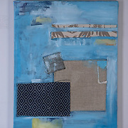 Study in Blue, 2015<br /> oil &amp; fabric<br /> 16&quot;x20&quot;<br /> $100.00<br /> by Dona Leon