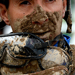A muddy jockey Jose Verenzuella after finishing third in the Sham Stakes riding Supreme Giant during the 5th race at Santa Anita Park in Arcadia, Calif., on Saturday, Jan. 7, 2017.
