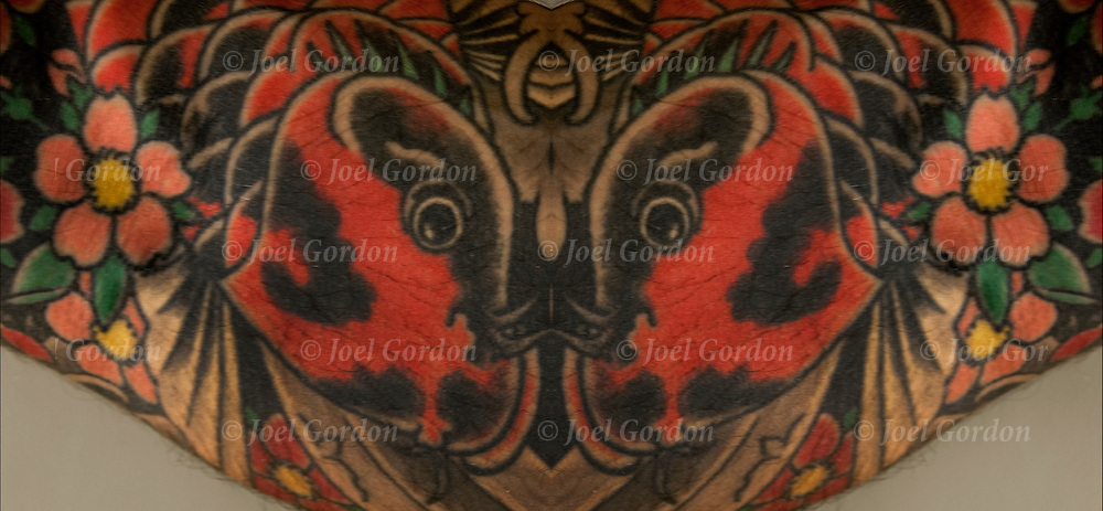 Computer altered, of Japanese tattoos mirrored.<br />