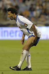 Jermain Pennant grimaces in pain after suffering an injury and had to be substituted as  Real Zaragoza beat Tenerife  1-0 in La Romareda the first game of the 2009/2010 LA LIGA season, 29th August 2009