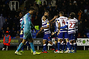 Reading players celebrate their goal (3-0) scored by Garath Mcleary (12) of Reading during the EFL Sky Bet Championship match between Reading and Luton Town at the Madejski Stadium, Reading, England on 9 November 2019.