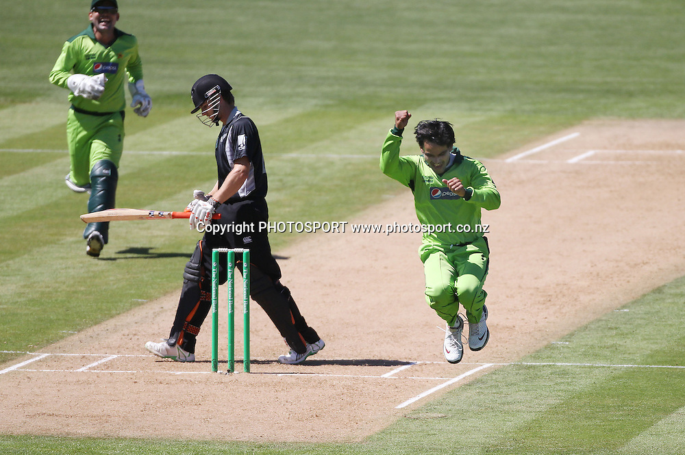 Pakistan bowler Mohammad Hafeez celebrates the wicket of Kane Williamson during the 4th ODI, Black Caps v Pakistan, One Day International Cricket. McLean Park, Napier, New Zealand. Tuesday 1 February 2011. Photo: Andrew Cornaga/photosport.co.nz