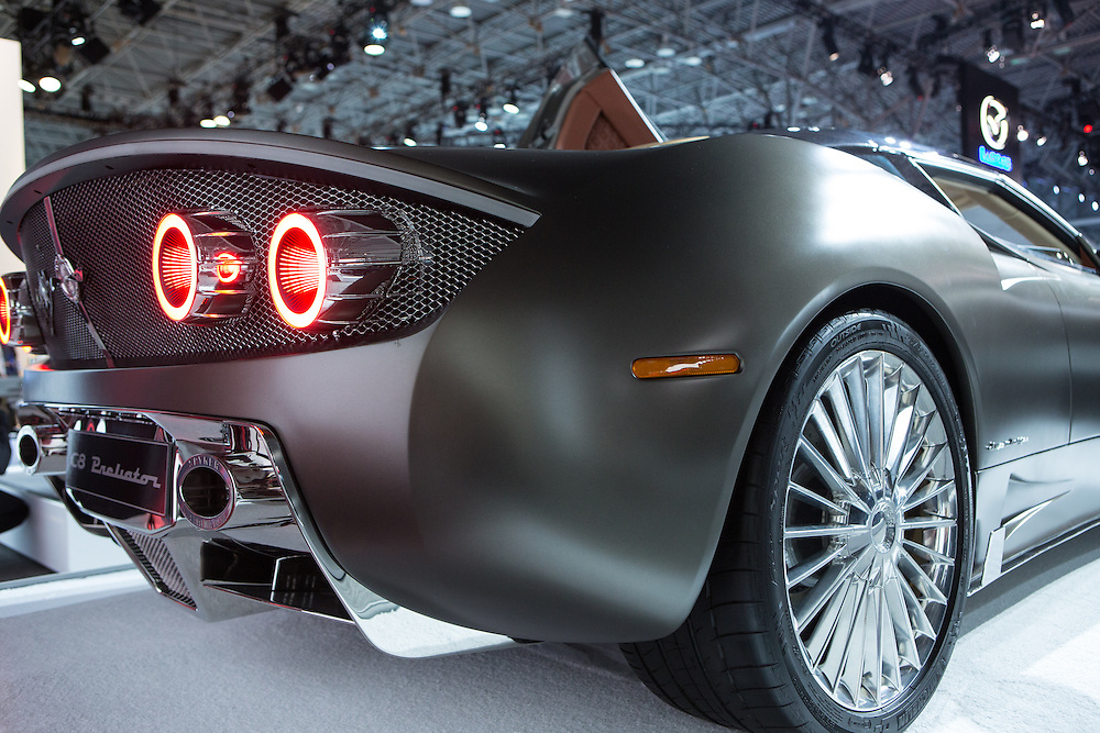 New York, NY, USA-23 March 2016. The tail of the Spyker C8 Preliator, a Dutch-built sportscar with an Audi V8 engine.