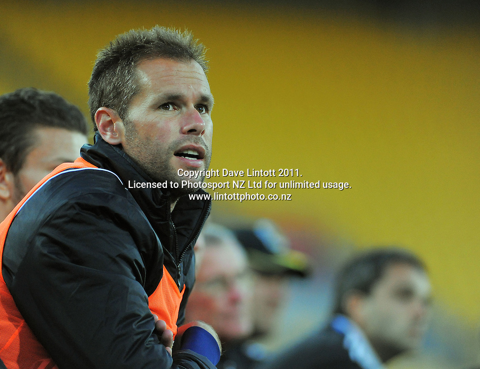 Phoenix keeper Mark Paston watches from the bench during the A-League football match between Wellington Phoenix v Newcastle Jets at Westpac Stadium, Wellington, New Zealand on Friday, 23 December 2011. Photo: Dave Lintott / lintottphoto.co.nz