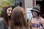 Two high school journalists interview Cassadee Pope of the band Hey Monday, backstage at the 2010 Vans Warped Tour in Mountain View, California.