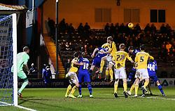 Rochdale's Jack O'Connell clears from a corner - Photo mandatory by-line: Matt McNulty/JMP - Mobile: 07966 386802 - 24/02/2015 - SPORT - Football - Rochdale - Spotland Stadium - Rochdale v Sheffield United - Sky Bet League One
