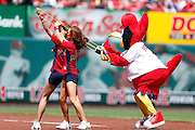 ST. LOUIS, MO - MAY 16: St. Louis Cardinals mascot Fredbird entertains fans along with cheerleaders in between innings against the New York Mets at Busch Stadium on May 16, 2013 in St. Louis, Missouri. The Mets won 5-2. (Photo by Joe Robbins)