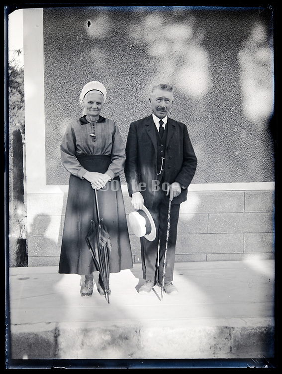 happy elderly couple posing circa 1930s France
