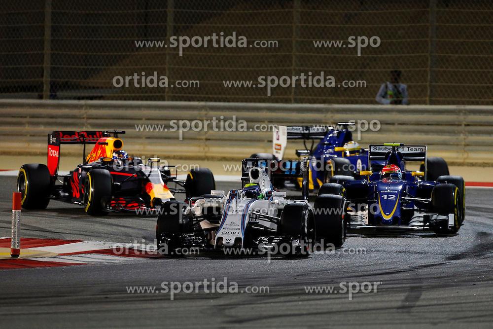 03.04.2016, International Circuit, Sakhir, BHR, FIA, Formel 1, Grand Prix von Bahrain, Rennen, im Bild Felipe Massa (BRA) Williams FW38 leads Felipe Nasr (BRA) Sauber C35 // during Race for the FIA Formula One Grand Prix of Bahrain at the International Circuit in Sakhir, Bahrain on 2016/04/03. EXPA Pictures &copy; 2016, PhotoCredit: EXPA/ Sutton Images/ Martini/<br /> <br /> *****ATTENTION - for AUT, SLO, CRO, SRB, BIH, MAZ only*****