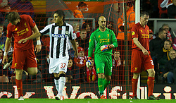 04.10.2012, Anfield, Liverpool, ENG, UEFA EL, FC Liverpool vs Udinese Calcio, im Bild Liverpool's goalkeeper Jose Reina looks dejected as Udinese Calcio score the winning third goal during UEFA Europaleague Match between Liverpool FC and Udinese Calcio at Anfield, Liverpool, England on 2012/10/04. EXPA Pictures © 2012, PhotoCredit: EXPA/ Propagandaphoto/ David Rawcliff..***** ATTENTION - OUT OF ENG, GBR, UK *****