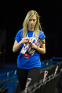 Flags and t-shirts are played out for the fans prior to the Davis Cup match by BNP Paribas between Great Britain and Japan at the National Indoor Arena, Birmingham.<br /> Picture by Anthony Stanley/Focus Images Ltd 07791 688 420<br /> 04/03/2016