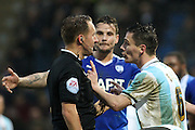 Shrewsbury Town FC midfielder Ian Black protests with the ref as Chesterfield are given a penalty during the Sky Bet League 1 match between Chesterfield and Shrewsbury Town at the Proact stadium, Chesterfield, England on 2 January 2016. Photo by Aaron Lupton.