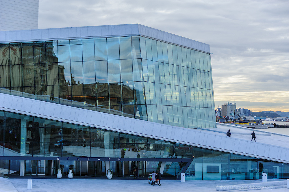 Oslo, Norway, October 2012: close-up of the Oslo Opera has windows.EDITORIAL ONLY: This Image is only for Editorial Use