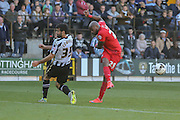 Notts County defender Mike Edwards blocks York City forward Emile Sinclair during the Sky Bet League 2 match between Notts County and York City at Meadow Lane, Nottingham, England on 26 September 2015. Photo by Simon Davies.