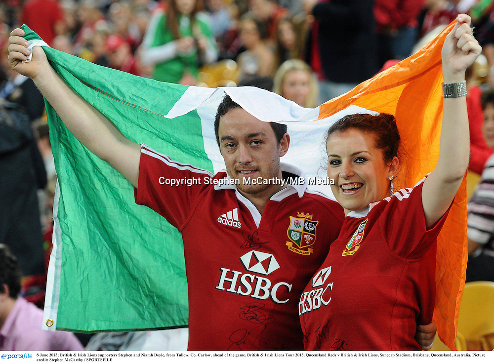 8 June 2013; British & Irish Lions supporters Stephen and Niamh Doyle, from Tullow, Co. Carlow, ahead of the game. British & Irish Lions Tour 2013, Queensland Reds v British & Irish Lions, Suncorp Stadium, Brisbane, Queensland, Australia. Picture credit: Stephen McCarthy / SPORTSFILE