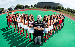 The Rutgers Scarlet Knights women's field hockey team during team photo day on Thursday August 25, 2016.<br /> (Ben Solomon/Rutgers Athletics)
