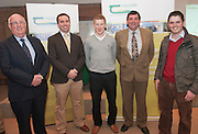 Michael Diskin  Teagasc,  Alan Fahey UCF, Eamon Wall, Sheep Ireland  Shane McEntee TD, Minister of State at the Department of Agriculture Food and the Marine and Dr. Tommy Boland UCD at the Launch of Sheep 2012. Photo:Andrew Downes