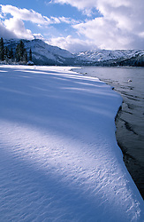 &quot;Snowy Shore at Donner Lake&quot;- Photographed from the east end of Donner Lake, facing toward Donner Summit.<br />