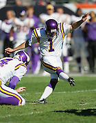 CHICAGO - OCTOBER 16:  Kicker Paul Edinger #1 of the Minnesota Vikings misses one of two field goals against the Chicago Bears at Soldier Field on October 16, 2005 in Chicago, Illinois. The Bears defeated the Vikings 28-3. ©Paul Anthony Spinelli *** Local Caption *** Paul Edinger