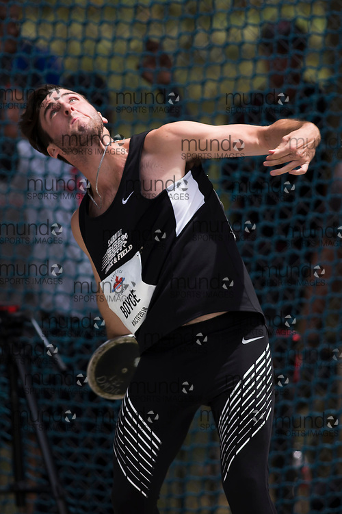 OTTAWA, ON -- 06 July 2018: Matthew Boyce throwing in the U20 discus at the 2018 Athletics Canada National Track and Field Championships held at the Terry Fox Athletics Facility in Ottawa, Canada. (Photo by Sean Burges / Mundo Sport Images).