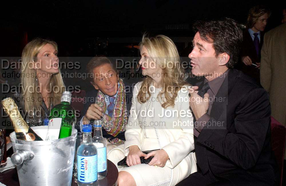 Charlene Souza, Valentino, Tim Jeffreys and , Tanqueray Philip Treacy couture fashion show and after party,  Pink Paradise Club, Paris. 21 January 2003. © Copyright Photograph by Dafydd Jones 66 Stockwell Park Rd. London SW9 0DA Tel 020 7733 0108 www.dafjones.com