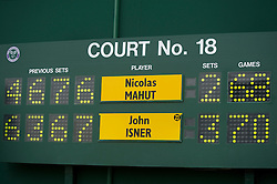LONDON, ENGLAND - Thursday, June 24, 2010: The Wimbledon scoreboard after the historic longert game ever that lasted 11 hours and five minutes over three days with the final score  6-4 3-6 6-7 (7-9) 7-6 (7-3) 70-68 on day four of the Wimbledon Lawn Tennis Championships at the All England Lawn Tennis and Croquet Club. (Pic by David Rawcliffe/Propaganda)