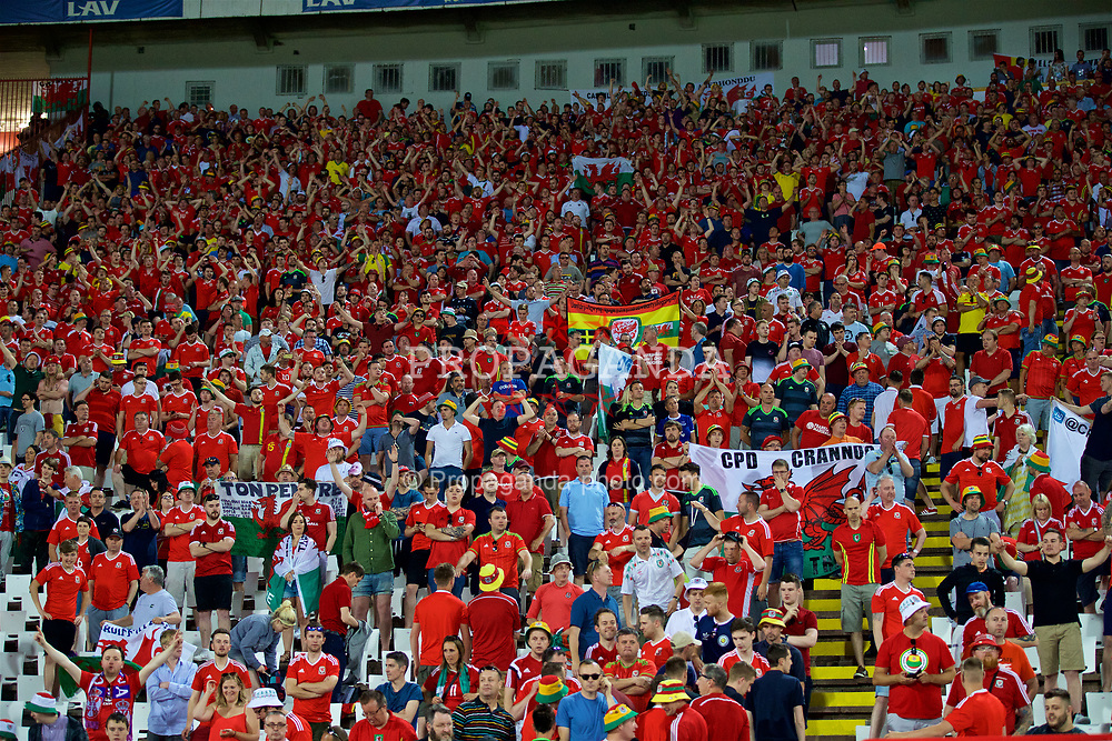 BELGRADE, SERBIA - Sunday, June 11, 2017: Wales supporters after the 1-1 draw with Serbia during the 2018 FIFA World Cup Qualifying Group D match between Wales and Serbia at the Red Star Stadium. (Pic by David Rawcliffe/Propaganda)