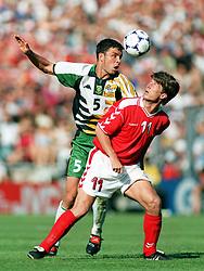 July 18, 1998 - 980718 Danmark - Sydafrika: Mark Fish och Brian Laudrup.© Bildbyran - 22717 (Credit Image: © Denny Calvo/Bildbyran via ZUMA Press)