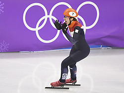 PYEONGCHANG, Feb. 22, 2018  Suzanne Schulting of the Netherlands celebrates victory after women's 1000m final of short track speed skating at the 2018 PyeongChang Winter Olympic Games at Gangneung Ice Arena, Gangneung, South Korea, Feb. 22, 2018.  Suzanne Schulting claimed champion in a time of 1:29.778. (Credit Image: © Wang Song/Xinhua via ZUMA Wire)